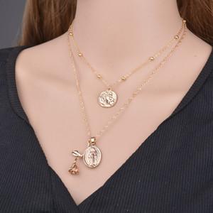 Ретро Геометрический круг монет Choker ожерелье Многослойные цветок розы Jesus подвеска Длинные ожерелья для женщин N1510