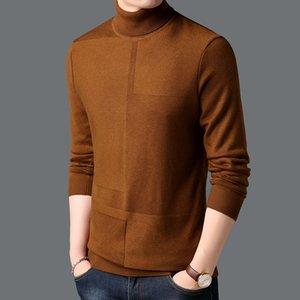 Haute Qualité Automne Hiver à col roulé Sweater chaud épais Pull Homme Marque Vêtements Brown Vin Rouge Noir Gris