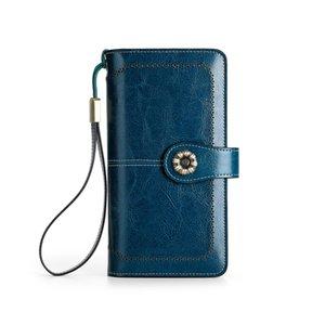 RFID neuen europäischen und amerikanischen Retro-Reißverschluss Verschluss Leder Multi-Card-Bit-Portemonnaie Frau Lange Wallet Clutch