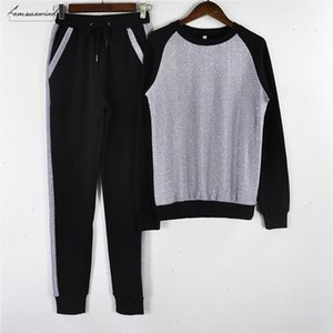 Two Women Piece Pants Sports Suit Shining Patchwork Tracksuit Long Sleeve Sweatshirt Pant 2 Piece Outfits Drop Shipping