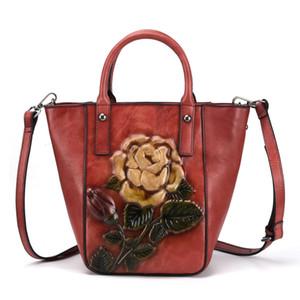 Women Genuine Leather Handbags Ladies Retro Elegant Shoulder Messenger Bag Natural Cow Leather Handmade Womans Bags