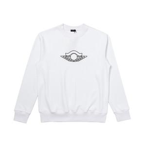 20SS Broderie Pull solide simple Sweat-shirt ras du cou Highstreet Hommes Femmes manches longues blanc bleu mode HFLSWY361