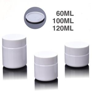 جرة PET بيضاء المسمار قبعات ، 60ML 100ML 120ML كريم فارغ حاوية بلاستيكية غطاء أبيض ، زجاجات مستحضرات التجميل كريم وعاء 60G 100G 120G SN2593
