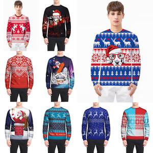 Noël Accueil Vêtements Pulls À Manches Longues Manteau Pull 3D Imprimer Père Noël Flocon De Neige Manteaux Renne Unisexe 12 Couleur WX9-1143