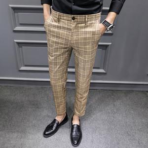 YASUGUOJI britischen Stil Kleid Anzug Hose Mann 2020 New Plaidklage Pant Men Designer Herren Business Casual Arbeitshose
