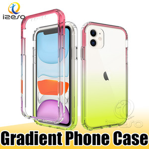 Для iPhone 11 PRO MAX XR Huawei P40 PRO P30 Lite Nova 6SE Gradient Прозрачный телефон чехол ТПУ Защитный противоударный Shell Обложка izeso