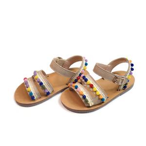 Littlesummer 여자 샌들 스웨이드 가죽 미끄럼 방지 바닥 컬러 털복숭 파티 공주 신발 아동 샌들 T200411