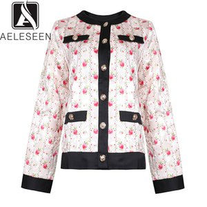 AELESEEN 2019 Autumn High Quality Vintage Jackets Women Pink Floral Printed Single Breasted Casual Wearing Tops Jacket On Sale