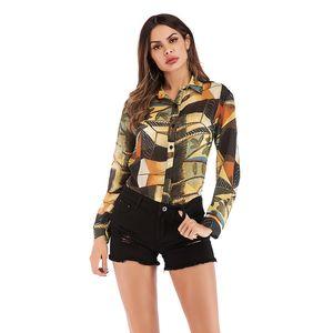 Womens Blusa Tops Primavera-Verão Moda Impresso Chiffon camisas de moda feminina tops de manga longa shirts Rua
