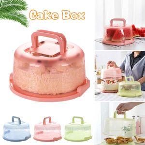 كب كيك الحاويات يده ختم جولة كعكة المعمرة صندوق تخزين محمولة أداة مطبخ البلاستيك صندوق كعكة عيد ميلاد