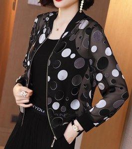 Woman Polka Dot Baseball Jackets Woman Black Chiffon Summer Lightweight Sunscreen Outwears Woman Fashion Stand Collar Thin Jacket