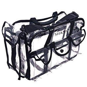 حقائب مستحضرات التجميل البلاستيكية واضحة الثقيلة مع حزام كتف قابل للإزالة وقابل للتعديل ، حقيبة ماكياج دائم Pro Mua Round Bag ، كبير