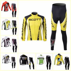 SCOTT 팀 사이클링 긴 소매 유니폼 바지 세트 망 속건 의류 타이츠 산악 자전거 젤 패드 U112810