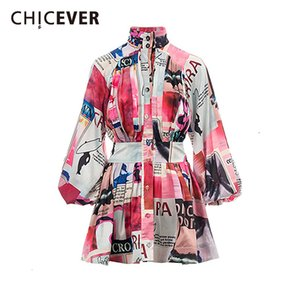 de CHICEVER Vintage Imprimir Hit Cor Vestidos Mulher Turtleneck lanterna Long Sleeve cintura alta Mini as mulheres se vestem roupas Nova