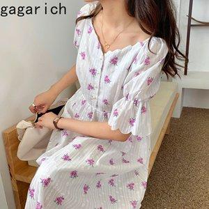 Gagarich Casual Floral Flare manches à encolure en V Chic Loose Women 2020 Nouvelle Robe mi-longue d'été de Bohème douce Femme coréenne Vestidos