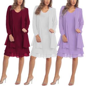XL-5XL 2019 Pas Cher Été En Mousseline De Soie Mère De Mariée Mariée Robe Mère Robe Pas Cher Costumes 2 Pièces Costumes pour Femmes fs3580