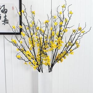 1PCS 90CM جميل الشتاء الاصطناعي الياسمين فرع البلاستيك مع الزهور الصفراء الديكور المنزلي وهمية فرع زهرة الزخرفية النباتية
