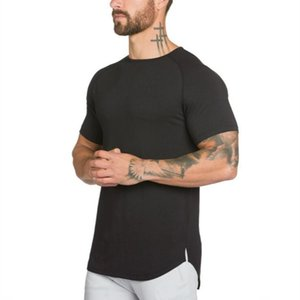 Muscleguys maglietta lungo degli uomini di Hip Hop Palestre maglietta palangaro extra camicia lunga tee per maschi bodybuilding e fitness Tops tshirt