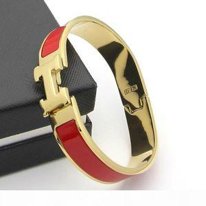 Stainless Steel Luxury Jewelry Women Bracelets Bangles Enamel Charm Bracelets Bangle H Letter Buckle Bracelets For Women