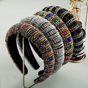 Kadın Lüks için Barok Tam Kristal Kafa Renkli Rhinestone Paded Saç Hoop Moda Elmas Saç Bandı Gelin Düğün headpieces