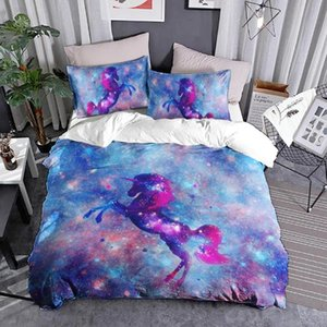 Colorful Unicorn 3d Cartoon Bedding Set 3 Pieces Set Duvet Cover Sets Bed Gull Size For Girls Boys Bedroom Home Decors