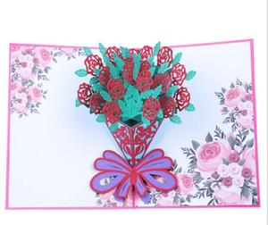 3D открытка с букетом роз с цветами в руках открытка трехмерная открытка ручной работы GB666