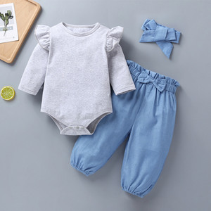 100% Baumwolle Neugeborene Baby-Kleidung Grau Body Outfit-Kind-Mädchen 3 Stück Set Romper + Pant + Stirnband Babybekleidung Sets