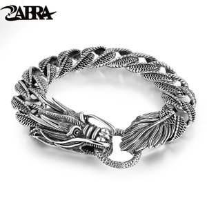 Mens Biker Sterling 925 Silver Dragon Curb Chain Bracelet Thai Vintage Style Dragon Link Handcrafted Punk Men Bracelet Bangle SH190925