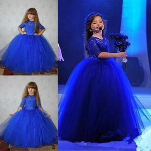 2020 Nuovo belli poco costosi Royal Blue Flower Girl Dresses per Matrimoni mezze maniche in pizzo di tulle ragazze lunghe vestito da spettacolo di promenade bambini Comunione abiti