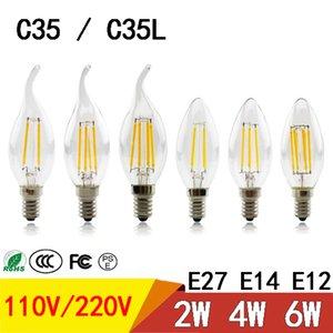 Bombilla LED de atenuación de filamentos luz de la vela E27 E14 E12 4W 2W 6W llevó el bulbo de alta brillante de cristal claro de C35 C35L llevó luces