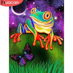 HUACAN 5D Diamond Painting Kits Frog Full Square round Mosaic Cross Stitch Animal Home Decor Diamond Art