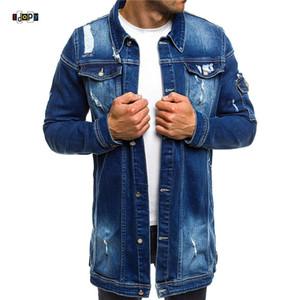 IDopy мода мужские длинные джинсовые куртки с разорванными устремленными стройными присваивать джинсы куртки повседневные джинсы куртка пальто для мужчин