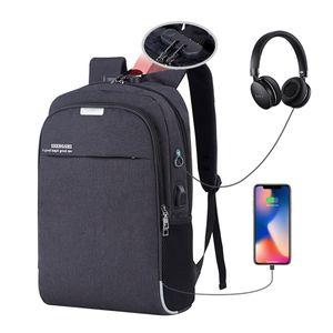 Antirrobo Mochila para portátiles de 15,6 pulgadas mochilas de carga USB Hombres Mujeres con mochila Student Travel Bagpack contraseña bolsos del cuaderno
