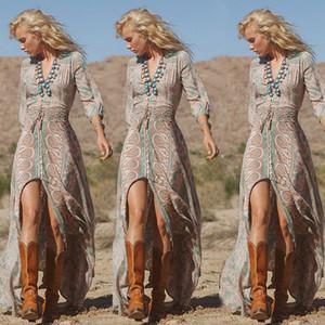 Frauen Art und Weise Sommer-reizvolle lange Hülse Chiffon- mit Blumen Boho-Party-Vintage-Druck mit V-Ausschnitt Strand-Maxi langen Kleid Druck Größe 6-14