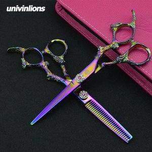 "5.5 6"" univinlions pink razor cut hairdressing scissors professional hair scissors barber shop supplies thinning rainbow shears LY191231"