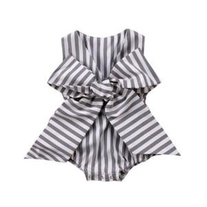 Adorable newborn neonate arco Stripes tuta pagliaccetto vestiti attrezzature di estate dei vestiti del bambino prendisole