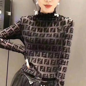 تتميز الدولي إلكتروني المرأة يتدفقون الذهب والفضة شبكة غزل تمتد لفترة طويلة الأكمام قميص القاع معطف المدورة قميص من النوع الثقيل