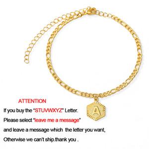 36 centimetri + 7 centimetri Extender Catena A-Z della lettera iniziale regolabile monili del calzino Alphabet Foot Beach catena delle donne della ragazza di moda in oro rosa