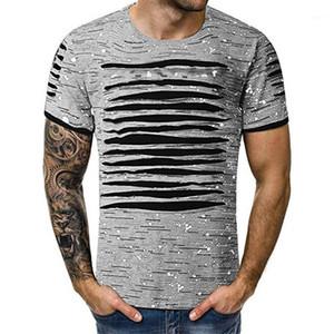 Camisetas del verano del O cuello de la manga corta de los hombres camisetas casual larga floja Superior Masculina diseñador del Mens rayado