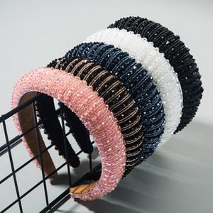 Yüksek dereceli sünger saç bandı Basit el yapımı boncuklu mizaç saç bandı saç aksesuarları geniş kenarlı