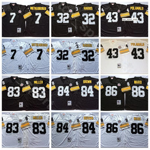 NCAA Football 83 Heath Miller Jersey 84 Antonio Brown 7 Ben Roethlisberger 43 Troy Polamalu 86 Hines Ward Franco Harris Black White