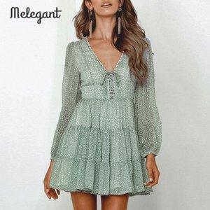 Melegant Uzun Kollu 2019 Sonbahar Kış Elbise Kadınlar Kısa Parti Ruffles Femme Zarif Yeşil Bayanlar Şifon Elbise vestidos 4lpS #