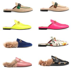 toka Gerçek Deri Moda Princetown Flats Zincir Bayan Günlük Ayakkabılar kadınlar Sandal ile Mens Slaytlar'ın aylaklarının Kürk Muller Terlik