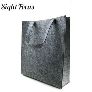 Individuell bedruckte, recycelte Frauen-Einkaufstasche aus grauem Filz Umweltfreundliche Einkaufstasche aus Filz Feste, lässige Modedesigner-Einkaufstüten aus Filz Y190620