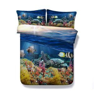 Sea Turtle Bettwäsche Hawaii 1 Bettbezug 2 Kissen Shams Ozean Tiere Fische Bettset Schildkröte Unterwasser 3D Bedspread Coverlet Bettdecke