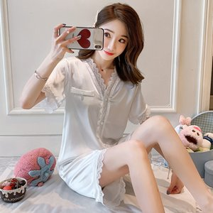Sexy Women Summer Classic Sleepwear Super Soft Silk Pajiama Sets Noble Thin Short Sleeves High Quality Nightgowns