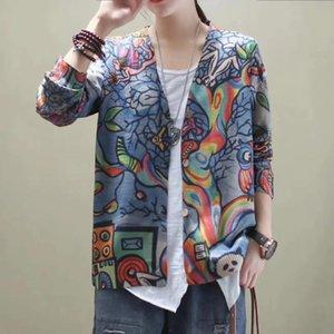 Casual Cotton Retro Linen malha Cardigan Impresso dos desenhos animados V-neck Brasão Loose Women Sweater Tops TZ3104