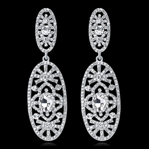 New Bridal Earrings with Crystals Rhinestones Water Drop Earring Bridal Jewelry Findings Wedding Accessories For Brides BW-112