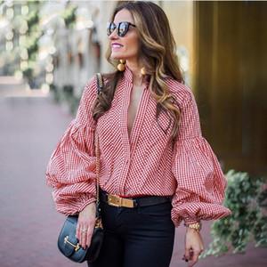 Женщины Полосатые Рубашки Весна С Длинным Рукавом Блузки Рубашка Офис Леди V Образным Вырезом Рубашки Повседневные Топы Плюс Размер