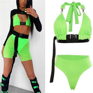 Neon Farbe Zweiteiler Frauen Anzug Sommer-Kleidung für Frauen Crop Top und Shorts Verein Outfit Street Party 2-teiliges Set